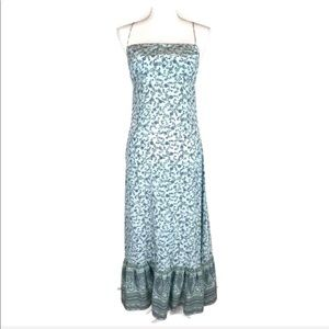 Vintage Silk Slip Dress Blue Floral The Limited